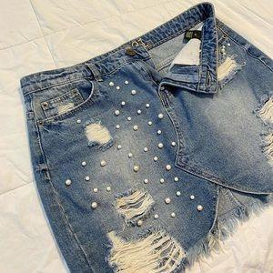 Jean skirt pearls details Rue 21 Medium stylish